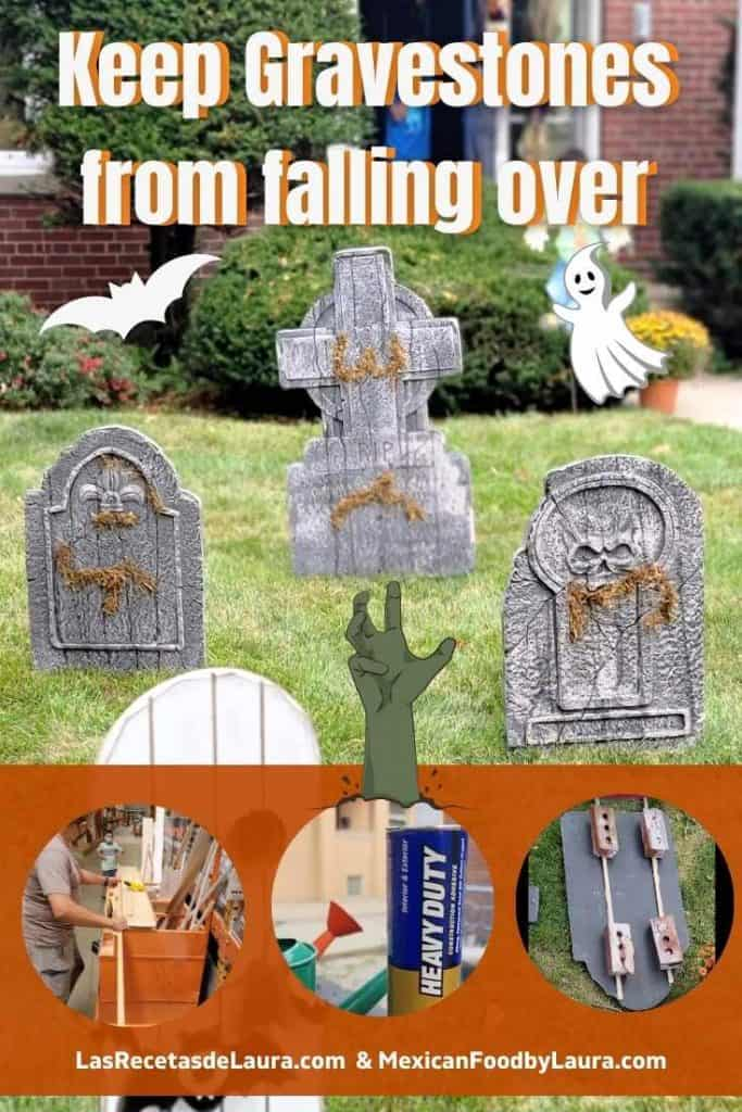 keep foam gravestones decorations from falling over